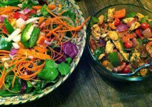 chickenstirfryand salad